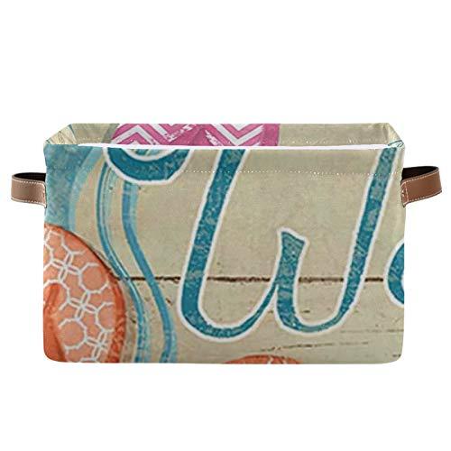 Paquete de 2 contenedores de almacenamiento de tela plegable para el hogar, cesta de cubo para el armario del hogar, organizadores de cajones de dormitorio, chanclas de colores, bienvenido verano