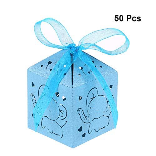 STOBOK Scatole Bomboniere Scatole Matrimonio Scatole Caramelle portaconfetti con Elefante e Cuore per Matrimonio Compleanno Battesimo 50 Pezzi (Blu)