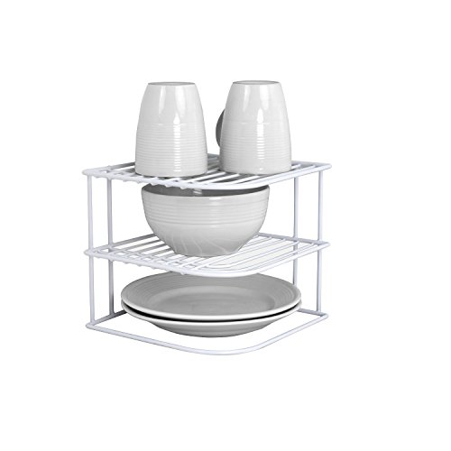 Sunbeam 3-Tier Kitchen Corner Counter Shelf and Cabinet Organizer Heavy Duty Wire Shelf in White