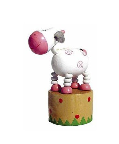 Ulysse - Jouet en bois Wakouwa Marionnette Animal articulé Enfant 3 ans + - Vache blanche