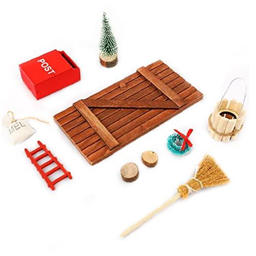 puppenhaus zubehör Weihnachten Set Miniatur Wichtel Set mit Zubehör Stiefel Laterne Weihnachtsbaum DEKOKRANZ Wichtelbesen Verzierungen für Weihnachten