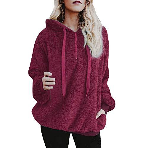 Lazzboy Women Jumpers Sweatshirt Hoodie Long Sleeve Zipper Pocket Fleece Hooded Loose Plus Size(Wine,2XL(16))