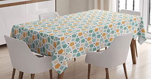 ABAKUHAUS Morski i biały obrus, wschodni staromodny krata splątane linie klasyczna mozaika, jadalnia kuchnia prostokątny obrus na stół, 54 szer. x 78 l, turkusowy pomarańczowy biały
