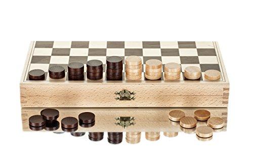 Grand 13 'tirants/dames ensemble dans le boîtier en bois pliant 32x32cm-100 terrains à jouer