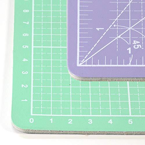 Snaply A1-90 x 60 cm Schneidematte (cm & inch) + Rollschneider + 60x15 cm Lineal, Farbe:Mint - Flieder