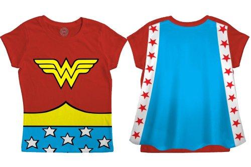 Bioworld Wonder Woman Toddler Shirt Wonder Woman Cape Tee Wonder Woman Cape Shirt-10-2T Red
