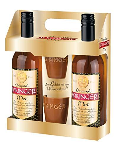 Original Wikinger Met (2 x 0,75l) inklusive 2 Wikinger-Becher als Geschenkset- Der echte Honigwein aus dem Wikingerland Haithabu
