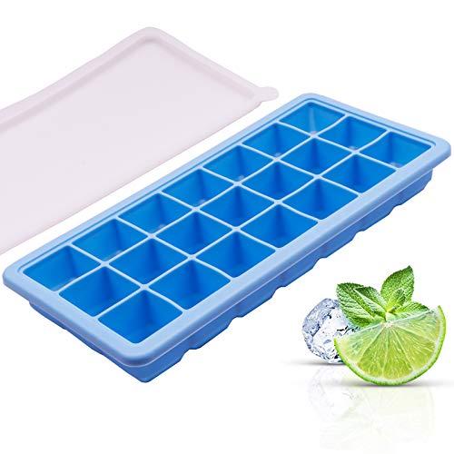 Cubiteras para Hielo Silicona/Hielera Cubitera con Tapa, Sin BPA Grado de Comida Molde de Cubo de Hielo para Cóctel Whisky Bebidas Jugo (Azul)