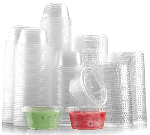 300-Pack Plastic Portion Control Cups with Snap-On Lids 2 oz.   Clear Disposable Small Food Containers   Excellent For Jello Shot, Meal Prep, Salad Dressing, Sushi, Condiments, Medicine, Sauce,Souffle