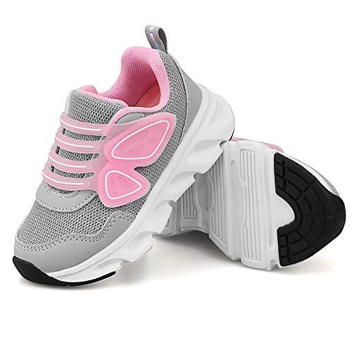 Zapatillas de Moda para Niña Zapatillas Deportivas Ligeras para Niños Zapatillas de Deporte Niña(24EU/Rosa Gris