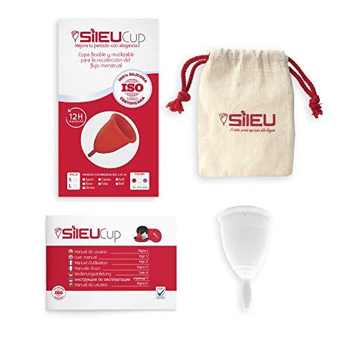 Coppetta Mestruale Sileu Cup Classic -Flessibilità Intermedia per i Principianti, Previene le Infezioni del Tratto Urinario, Senza Odore - Taglia S, Transparente