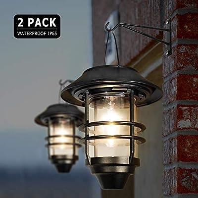 Hanging Solar Outdoor Lights Wall Lanterns, Sconce Light Solar Powered Waterproof Warm White for Garden Yard Porch Fence, 20 Lumen, 2 Pack