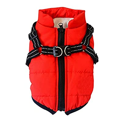 Poseca Dog Clothes for Small Dogs Dog Coat Waterproof Winter Jacket Warm Vest Dog Clothes Dog Coat Warm Winter Dog Jacket with Dog Harness for Small Dogs