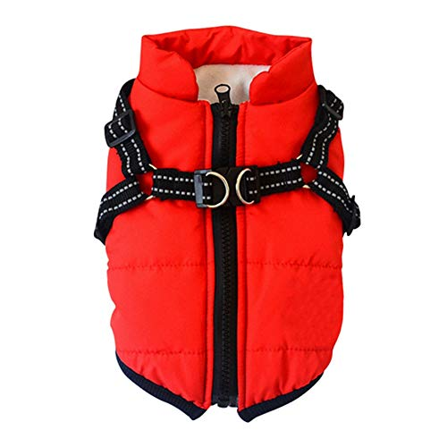 Jinpet Dog Coat with Harness Winter Dog Coat Fleece Dog Jacket Waterproof Dog Coat Zipper Dog Jacket Puppy Coat Small Dog Clothes Dog Coat with Reflective Harness for Smal Medium Large Dogs S-4XL