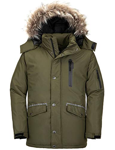 Wantdo Men's Big & Tall Winter Parka Coat Quilted Jacket with Fur Army Green XL