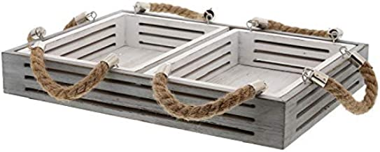 Barnyard Designs Nesting Serving Trays with Rope Handles Rustic Coastal Nautical Decorative Wood Trays for Coffee Table, Kitchen, Set of 3