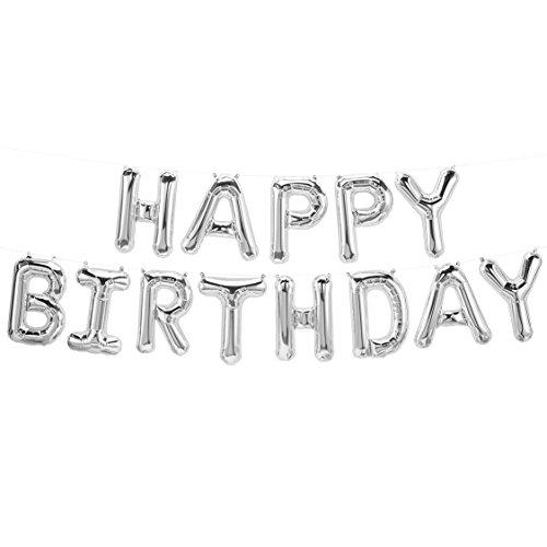 ballonfritz® Luftballon Happy Birthday -Schriftzug in Silber - XXL Folienballon als Geburtstags Deko, Begrüßung, Party Geschenk oder Fotorequisite