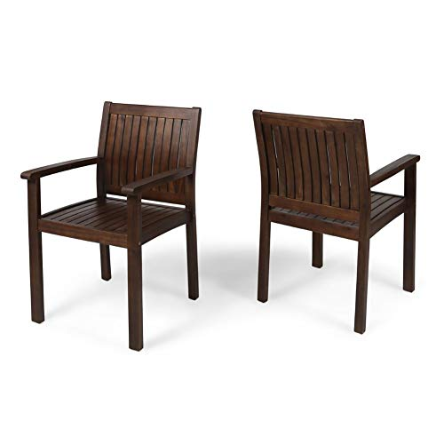 Christopher Knight Home 305901 Kylan Outdoor Acacia Wood Dining Chairs (Set of 2), Dark Brown Finish
