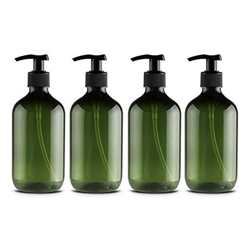 Kitchnexus Clásico 4 Piezas Pet plástico 500 ml Botellas vacías Gran Capacidad jabón loción dispensador baño Accesorios con Bombas de loción Negra