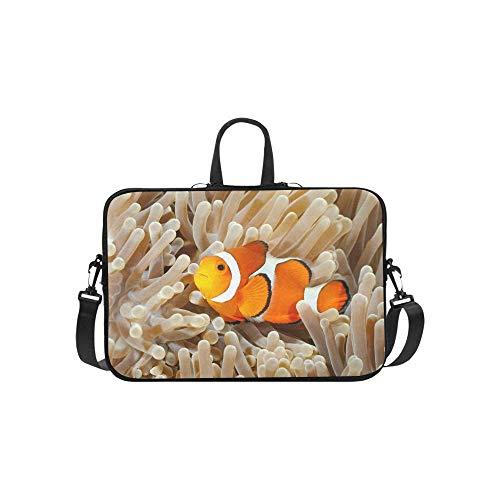 15.6″Durable Hombro Mensajero Bolsa maletín PC Payaso Pez Anemonefish Amphiprion Percula Nadando...