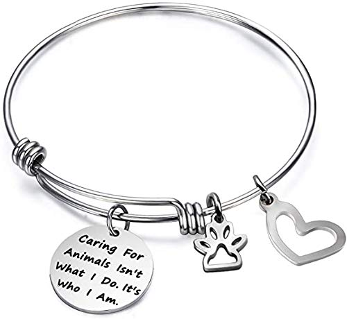 Caring for Animals is Who I Am Bracelet Expandable Wire Bangle Veterinarian Gift Animal Lovers Jewelry (caring Bracelet)