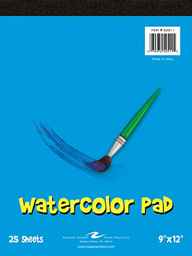 Roaring Spring Kid's Art Watercolor Paint Pad, 9' x 12' 25 Sheets, 100# Watercolor Paper