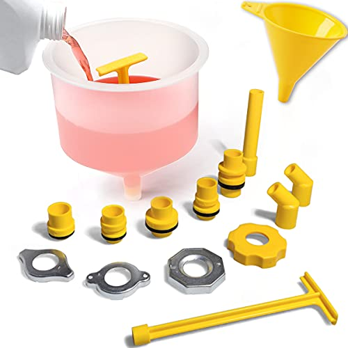 Thorstone No-Spill Coolant Funnel   16Pcs Spill Free Radiator Coolant Filling Funnel Kit   Spill Proof Radiator Funnel Bleeder with Adapters, Fit Universal Vehicles,Clear