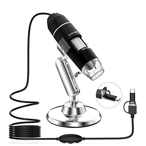 Pancellent Microscopio Digital, microscopía de Aumento USB 1080P 50X a 1000X con 8 LED, colección de Diapositivas de 12 Paquetes (Nivel de Inicio, NO iPhone/iPad, Negro)
