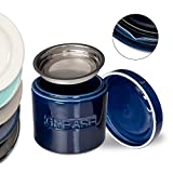 Bacon Grease Oil Container Storage Can Keeper w/Stainless Strainer Paleo Keto Pour Spout Ceramic Porcelain Stoneware Fat Separator Filter Multiple Colors NAVY BLUE