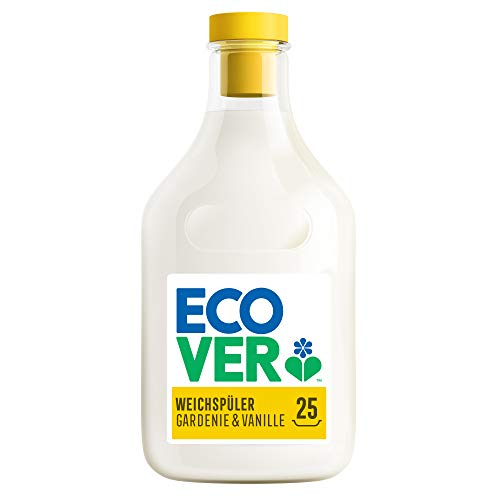 Ecover Weichspüler - Gardenie & Vanille (750 ml / 25 Waschladungen), Weichspüler mit pflanzenbasierten Inhaltsstoffen, ökologischer Weichspüler für weiche und duftende Wäsche