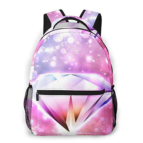 Bonita impresión de diamante mochila de impresión portátil impermeable antirrobo casual mochila bolsa USB puerto de carga mochila unisex
