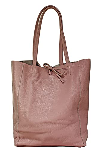 Milenastely Echt Leder Damentasche Shopper Schultertasche Handtasche (puderrosa)