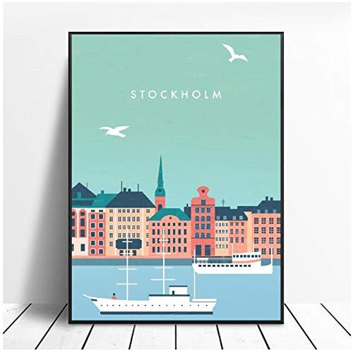 Zhaoyangeng Stockholm Canvas reseaffisch tryck hem väggkonst dekor målning – 50 x 70 cm oinramad