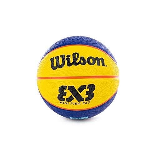 Wilson, Ballon de Basketball FIBA 3x3 Mini, Taille: 3, Bleu/Jaune, Caoutchouc, pour Intérieur et extérieur, WTB1733XB