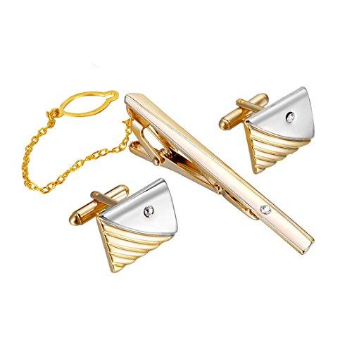 MJARTORIA 3PCS Set Boutons de Manchette et Épingle Pinces à Cravate Alliage Chemise Clip Tie Mariage Business