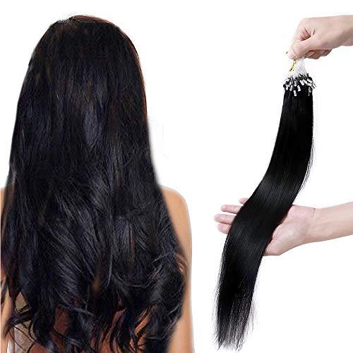 Extension Cheveux Naturel a Froid Micro Anneaux Loops - Rajout Cheveux Humain 100 Mèches 50g (#01 NOIR FONCE, 40 cm)