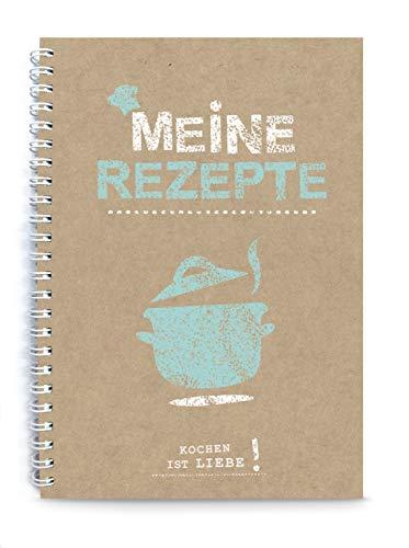 Meine Rezepte Kochbuch Rezeptbuch zum Selberschreiben Braun original Kraftpapier, liniert, DIN A5, Spiralgebunden, Inhaltsverzeichnis und Seitennummerierung
