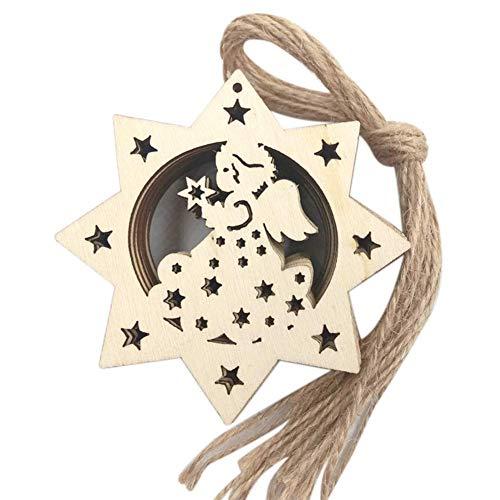 10 adornos de madera para manualidades, árbol de Navidad, ángel de Papá Noel, 2 muy populares y útiles