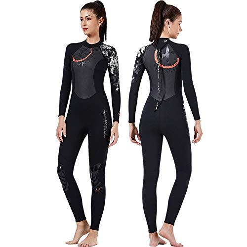 GUARDUU Damen 3/2 MM Neopren Neoprenanzug UV-Schutz Langarm Schwimmanzug Ganzkörper Neoprenanzug Zum Schwimmen Surfen Tauchen,A,S
