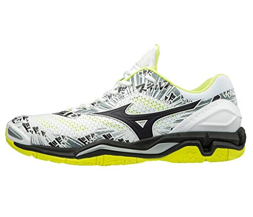 Mizuno Herren Wave Stealth V Sneakers, Mehrfarbig Wht Blk Safety Yellow 001, 46 EU