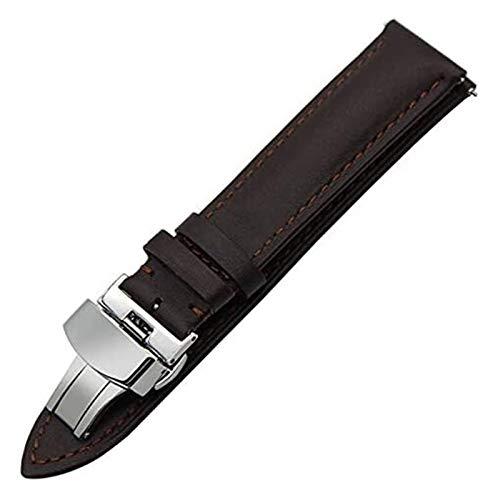 TSYGHP Correa de reloj de piel auténtica de 18 mm, 20 mm, 22 mm, correa de liberación rápida, universal, hebilla de mariposa, correa de reloj, correa de reloj de oro rosa (color: 20 mm, tamaño: negro)