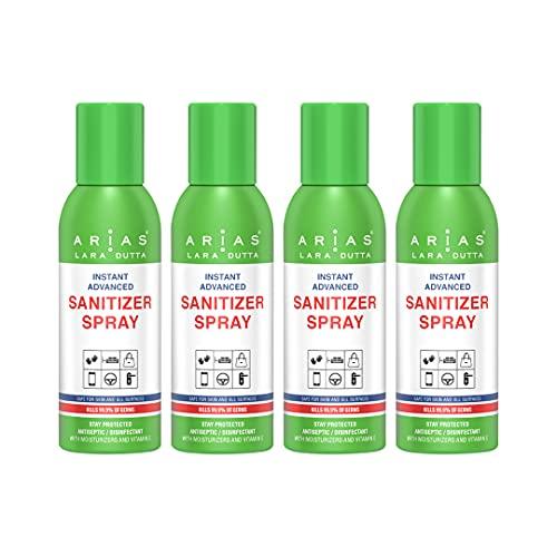 Arias Sanitizer Spray 200 ml Kills 99.9% Germs (Pack Of 4)