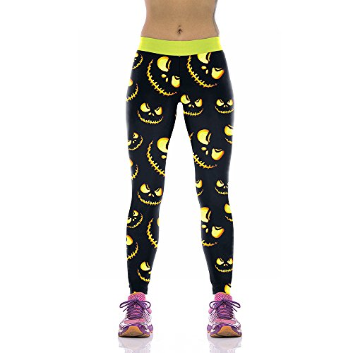 Rongjuyi Damen Design Leggings 3D gedruckt Halloween Kürbis Laterne Horror Smiley Leggins Yoga Hose Strumpfhosen Legging für Frau Yoga Leggings (Color : Black, Size : S)