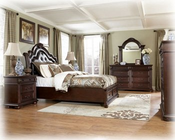 Hot Sale Ashley Caprivil Queen Storage Bed in Old World Deep Brown Finish