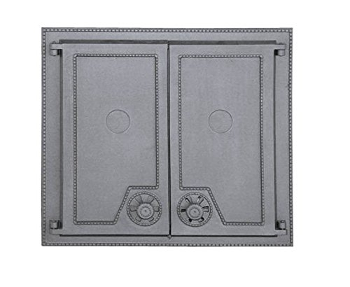 Backofentür Ofentür Pizzaofentür Holzbackofentür Steinbackofentür aus Gusseisen | Außenmaße: 640x570 mm | Öffnungsrichtung: zweiflügelig