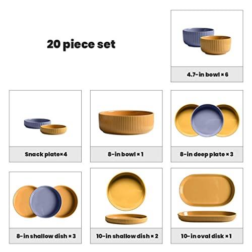 CCAN De vajilla Creativity Ceramics, 20 Piezas Juego de combinación de Porcelana Creativity Macaron - Cuenco/Plato |Vajilla de Rayas Verticales para el hogar para Restaurante, B Interesting Life