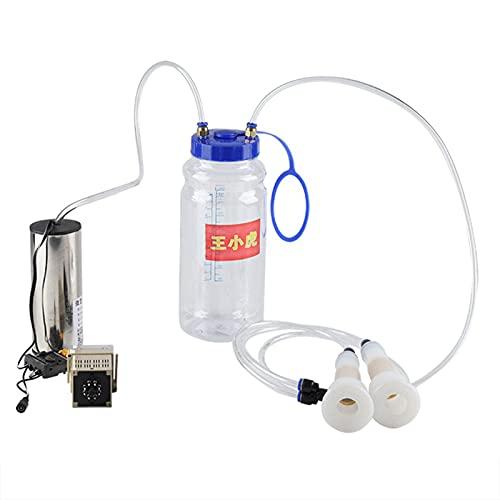 HEEPDD Elektrische Melkmaschine Tragbares Melkvakuum-Impulspumpen-Kuhmelkgerät mit 2-Liter-Flasche und 2-Liter-Melkstand für Milchvorkommen(EU-Stecker 220-250V)