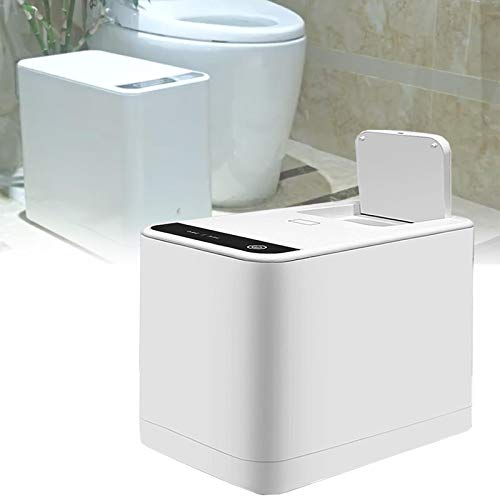 LXNQG Inteligente Cubo de Basura Hogar, Silencioso Botón Táctil Papel Higiénico Amoladora Procesador, Baño Servilleta Sanitaria Trituradora, para Anciano Niño Adulto