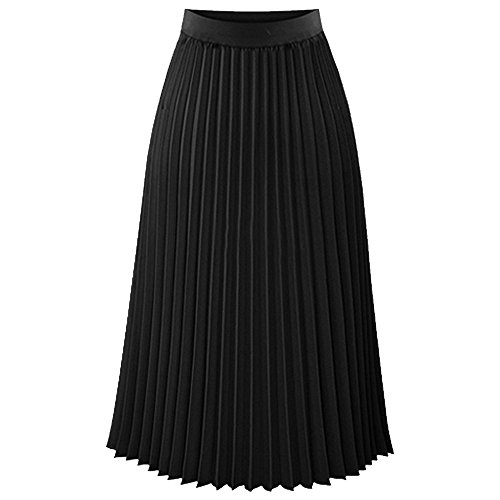 TEERFU Womens Ladies Summer Flared Pleated Skirt A-line Midi Skirts Black Small