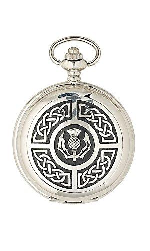 Sgian Dubh Co Celtic Knot Thistle Mechanical 17 Jewel Full Hunter Scottish Pocket Watch PW103M